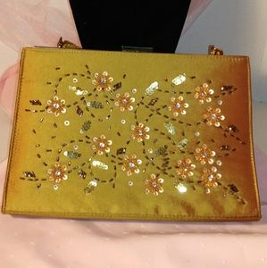 Gold Satin & Floral Sequin Shoulder Bag